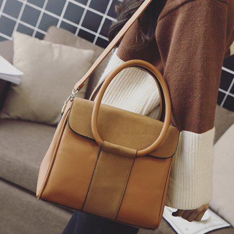 Outfit Suede Insert PU Leather Tote