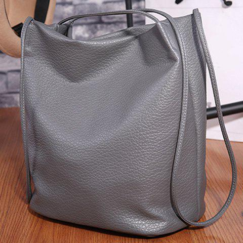 Online Casual Faux Leather Shoulder Bag GRAY