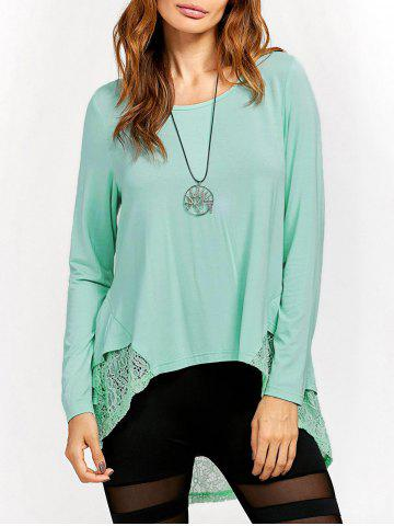 Trendy Lace Trim High Low T-Shirt LIGHT GREEN L