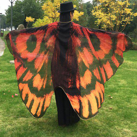 Chic Butterfly Wing Cape Scarf ORANGE RED