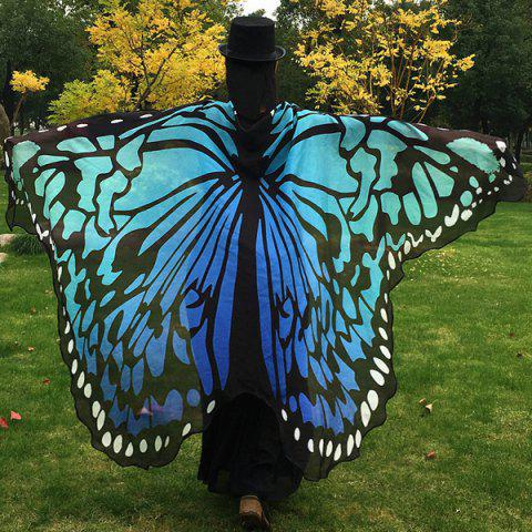 Discount Butterfly Wing Cape Scarf - BLUE  Mobile