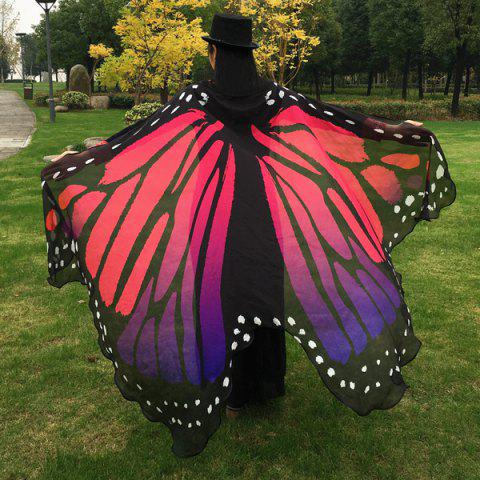 Fancy Butterfly Wing Cape Scarf - RED  Mobile