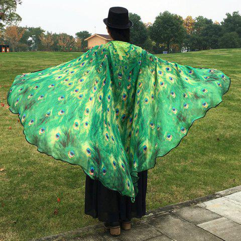 Fancy Peacock Feather Wing Cape Scarf - GREEN  Mobile