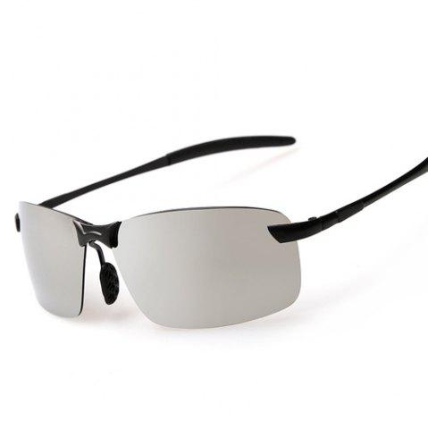 Trendy Rectangle Black Leg Mirrored Rimless Sunglasses