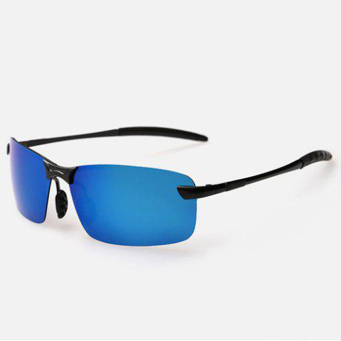 Sale Rectangle Black Leg Mirrored Rimless Sunglasses - BLUE  Mobile