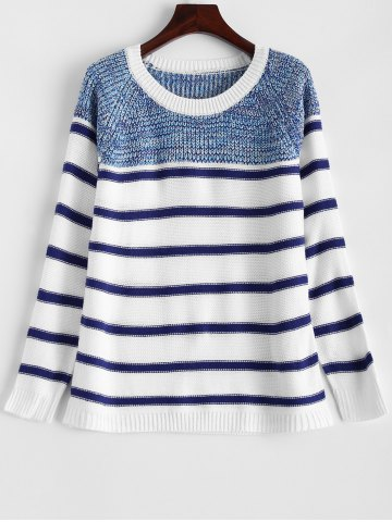 Fancy Pullover Striped Sweater WHITE ONE SIZE
