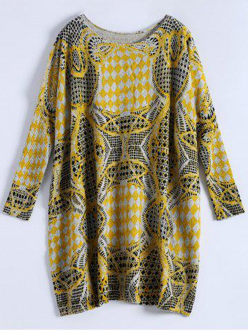 Plus Size Batwing Sleeve Patterned Sweater