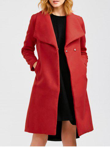 Affordable Wool Blend Long A Line Wrap Coat With Belt RED XL