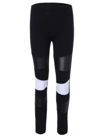 Affordable PU Leather Insert Color Block Leggings