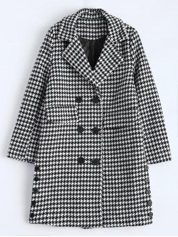 New Lapel Houndstooth Double Breasted Coat
