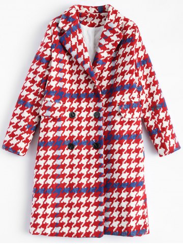Cheap Lapel Houndstooth Double Breasted Long Coat