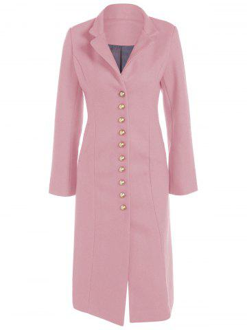 Online Lapel Button Up Long Coat