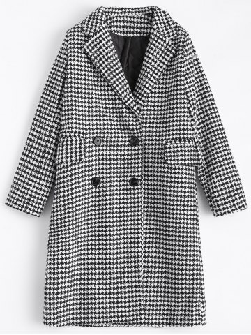 Shop Double Breasted Lapel Houndstooth Coat