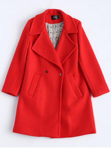 Hot Candy Color Wool Blend Coat with Pockets