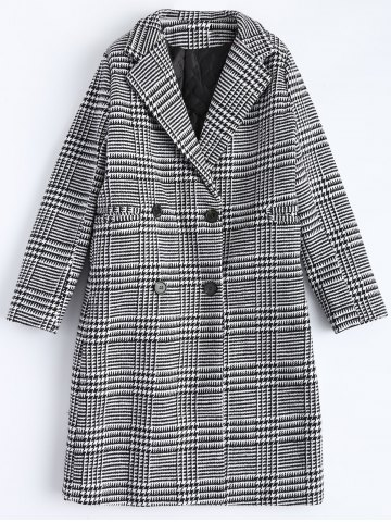 Chic Lapel Plaid Double Breasted Coat