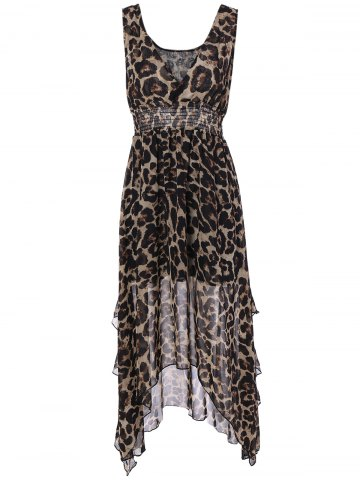 Discount V Neck Leopard Chiffon High Low Dress
