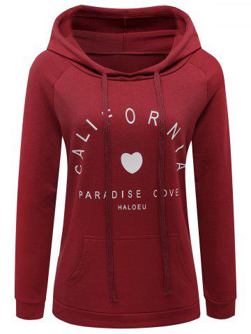 Buy Hooded Drawstring Letter Graphic Hoodie