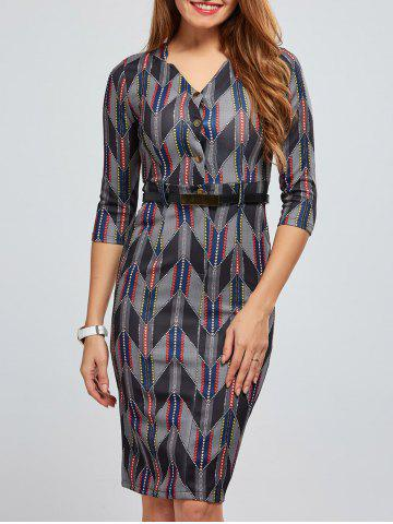 Outfits Zigzag Print V Neck Bodycon Dress