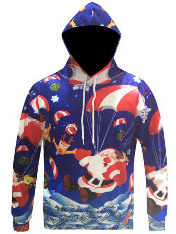 New Santa Claus 3D Print Pocket Christmas Patterned Hoodies BLUE 3XL