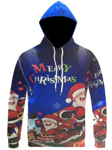 Discount Pocket Front Cartoon Print Christmas Patterned Hoodies BLUE 3XL