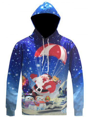 Outfit Santa Claus Print Drawstring Christmas Patterned Hoodies BLUE 3XL