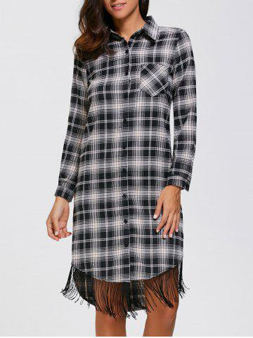 Outfits Plaid Fringed Button Up Dress PLAID XL