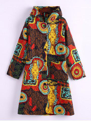 New Ornate Print Hooded Quilted Coat