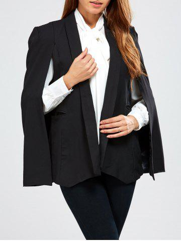 Trendy Open Front  Pocket Cape Blazer - XL BLACK Mobile