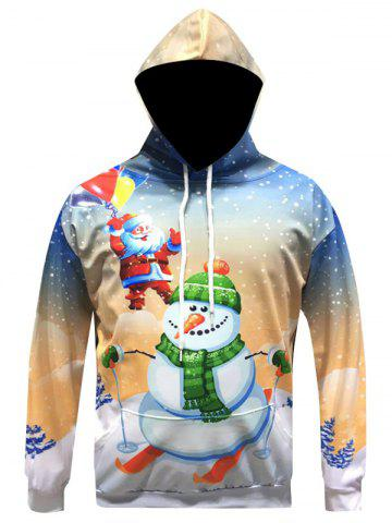 Chic Christmas Santa Snowman Printed Pullover Hoodie YELLOW 3XL