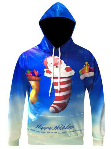 Shop Christmas Cartoon Santa Printed Pullover Hoodie BLUE 3XL