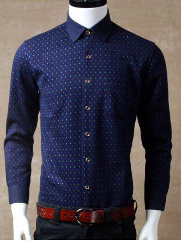 Sale Long Sleeve Printed Pocket Shirt - L RED Mobile