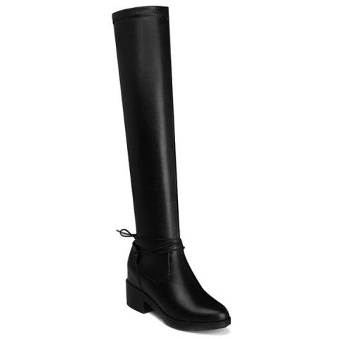 Discount Tie Up PU Leather Chunky Heel High Boots
