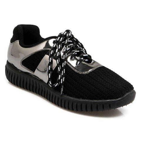 Outfit Patent Leather Ribbed Tie Up Athletic Shoes