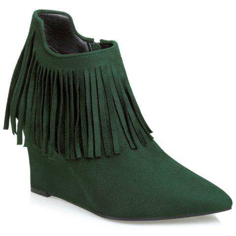 New Wedge Heel Pointed Toe Fringe Ankle Boots