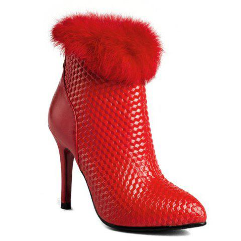 Embossed Faux Fur Stiletto Heel Boots - Red - 38