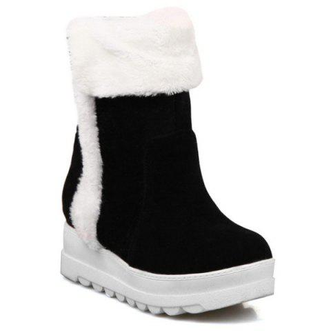 Cheap Fuzzy Mid Calf Flatform Snow Boots BLACK 39