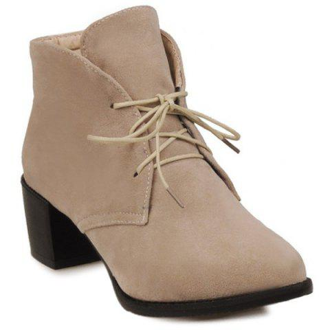 Unique Flock Lace Up Chunky Heel Ankle Boots