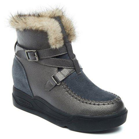 Cheap Hidden Wedge Suede Panel Snow Boots