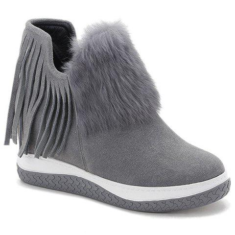 Fashion Faux Fur Fringe Hidden Wedge Ankle Boots