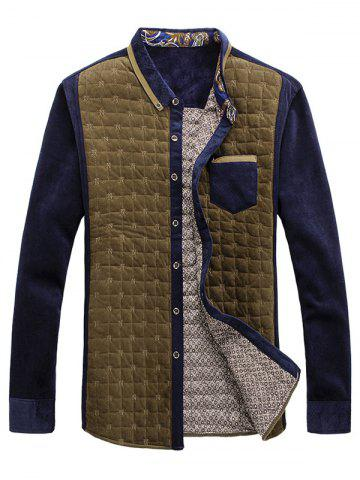 Trendy Chest Pocket Contrast Insert Grid Quilted Shirt