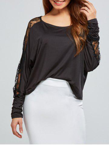 Sale Lace Insert Batwing Sleeves Blouse BLACK XS