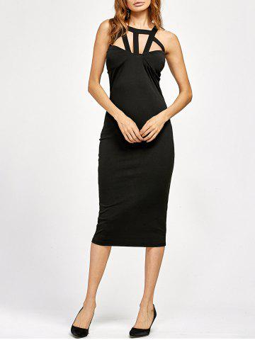 Cut Out Bandage Tea Length Bodycon Dress - Black - Xl