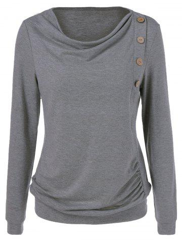 Chic Side Button Sweatshirt GRAY XL