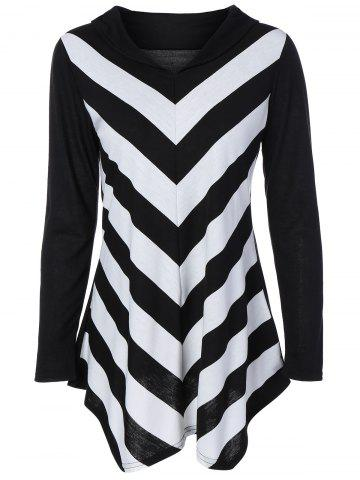 Cheap V Neck Striped Long Sleeve Tee BLACK XL
