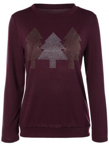 Discount Christmas Tree Rhinestoned Tee BURGUNDY XL