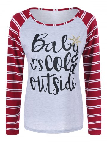 Online Raglan Sleeve Striped Graphic Baseball Tee Shirts