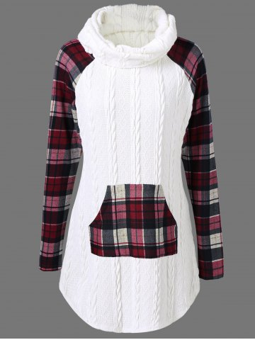 Plaid Cable Knit Tunic Sweater - WHITE M