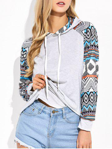 Fancy Raglan Sleeve Geometric Print Hooded Tee LIGHT GRAY M