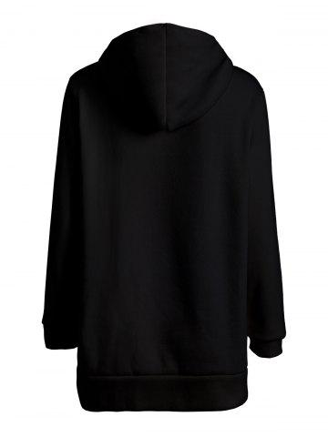 Cheap Solid Color Loose Fitting Leopard Print Hoodie For Women - ONE SIZE BLACK Mobile