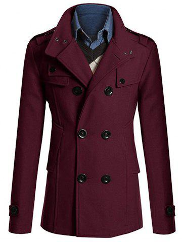 Store Stand Collar Zipper Design Double Breasted Woolen Blends Coat WINE RED 3XL